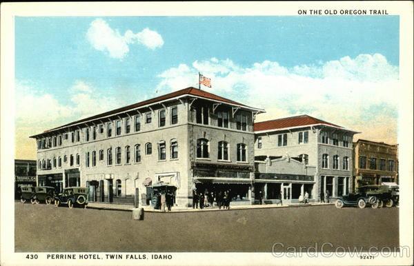 perrine hotel on the old oregon trail twin falls id postcard. Black Bedroom Furniture Sets. Home Design Ideas