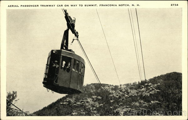 Aerial Passenger Tramway Car On Way To Summit Franconia Notch New Hampshire