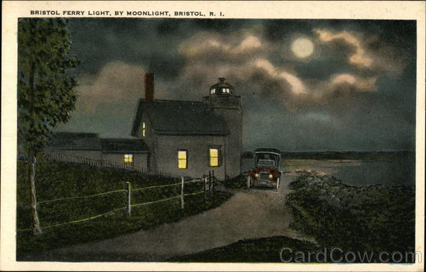 Bristol Ferry Light By Moonlight Rhode Island