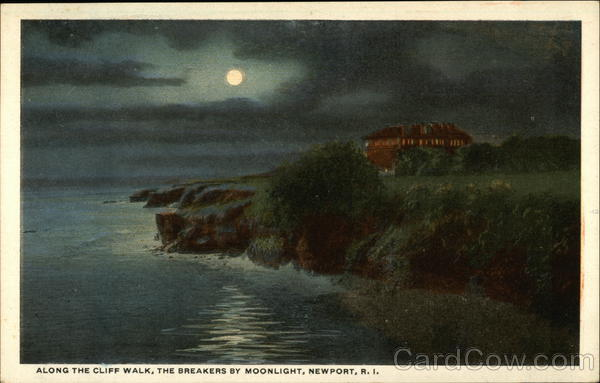 Cliffwalk and The Breakers by Moonlight Newport Rhode Island