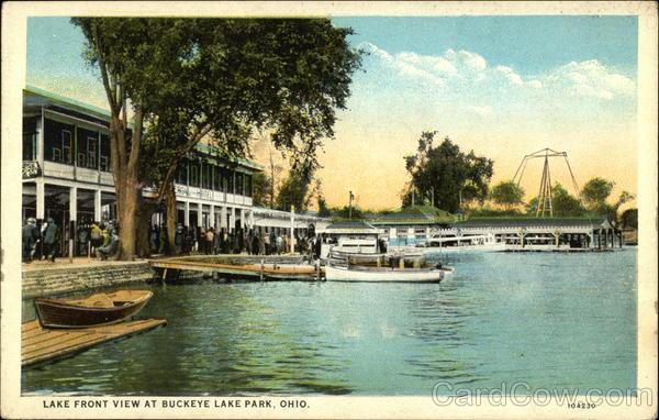 lake front view at buckeye lake park postcard