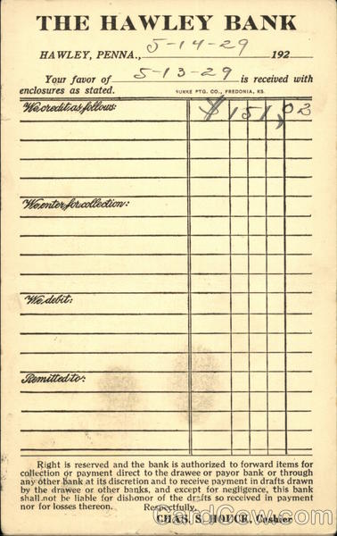 Receipt from The Hawley Bank Pennsylvania Business & Office