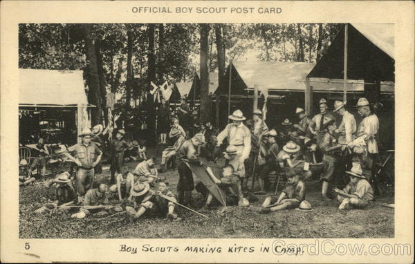 Boy Scouts - Making Kites in Camp