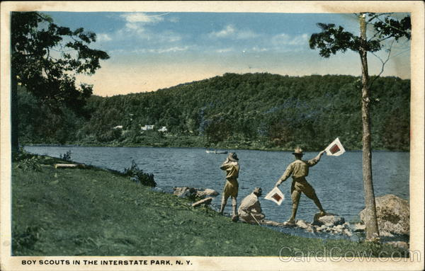 Boy Scouts In The Interstate Park, N. Y. New York
