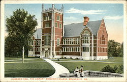 Bowdoin College - Hubbard Hall, The Library Postcard