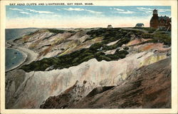 Gay Head Cliffs and Lighthouse Postcard