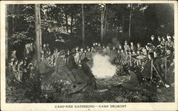 Campfire Gathering, Camp Delmont Postcard
