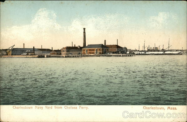 Charlestown Navy Yard from Chelsea Ferry. Massachusetts