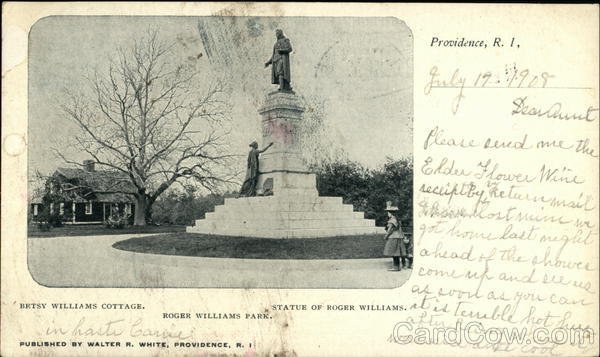 Statue of Roger Williams & Betsey Williams Cottage, Roger Williams Park Providence Rhode Island
