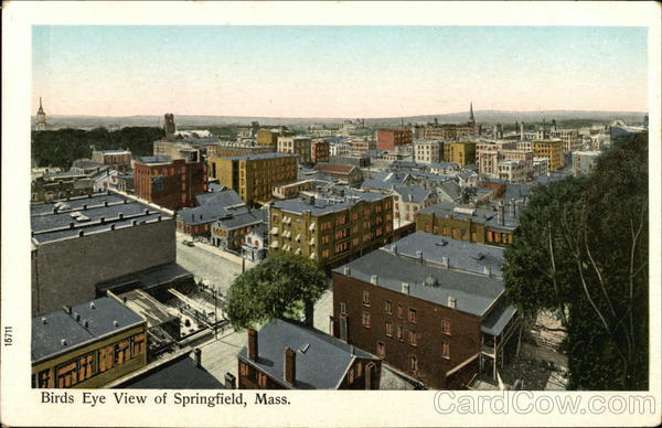 Birds Eye View of Springfield, Mass. Massachusetts