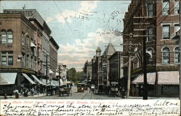 Main Street from School and High Streets Brockton Massachusetts