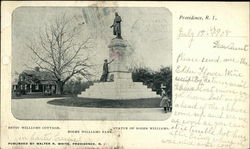 Statue of Roger Williams & Betsey Williams Cottage, Roger Williams Park Postcard