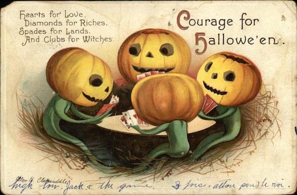 Courage for Halloween- Four Pumpkin Headed Figures Playing Cards