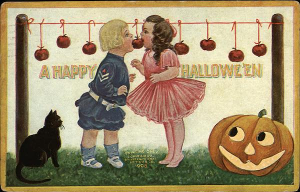 A Happy Halloween - Children Bobbing Apples