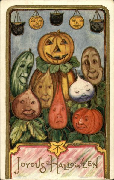 Joyous Halloween - Vegetables with Faces in a Vegetable Patch