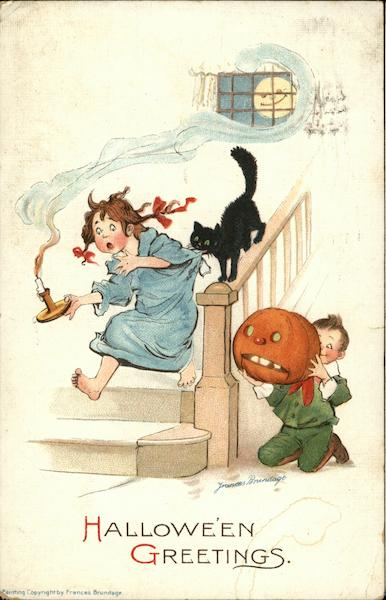 A girl frightened and running down the stairs with a candle in hand