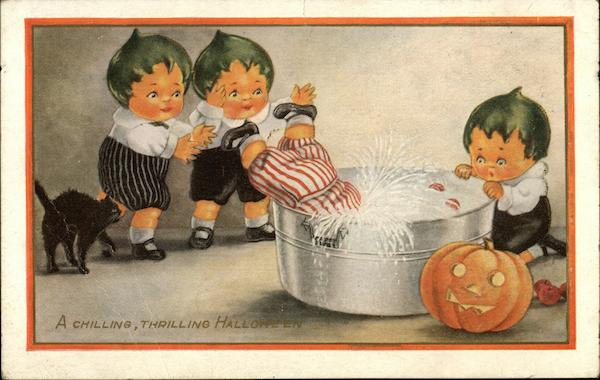 Children Bobbing for Apples with Pumpkin and Black Cat