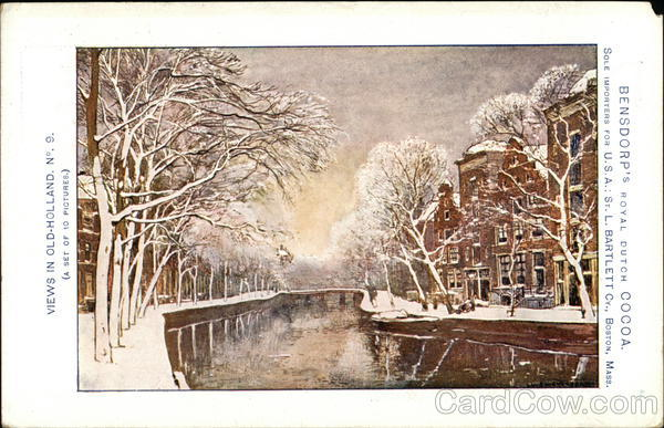 Snow Scene - Views in Old-Holland - Bensdorp's Royal Dutch Cocoa