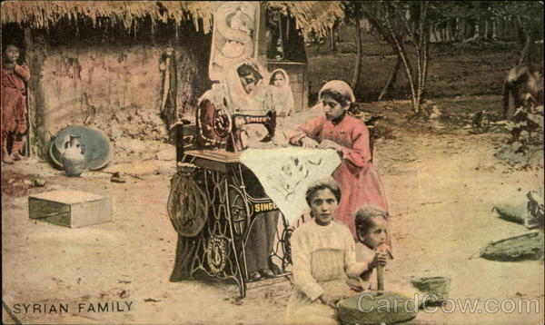 Syrian Family with Singer Sewing Machine Advertising