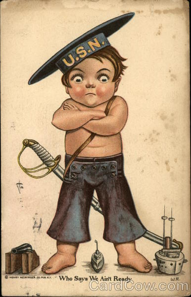 Boy Dressed as US Navy Soldier Ready to Fight