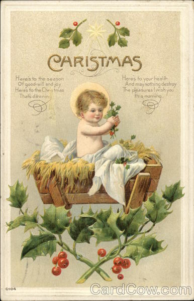 Baby Jesus In Manager With Holly Madonna Amp Child Postcard