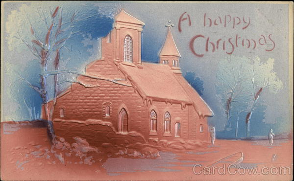 Raised Design of Church in Winter Christmas