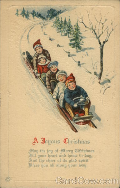 A Joyous Christmas- Children on a Sleigh
