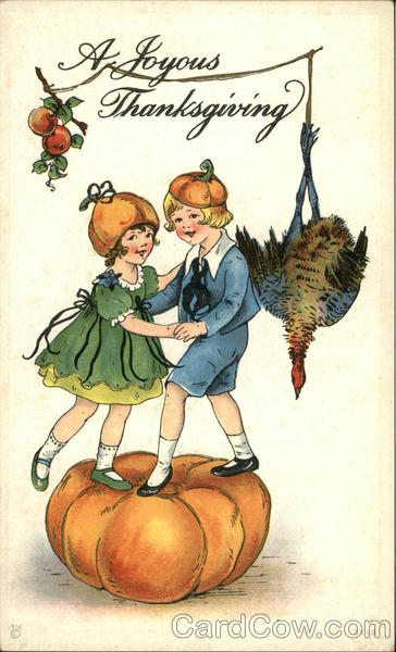 A Joyous Thanksgiving - Children with Pumpkin and Turkey