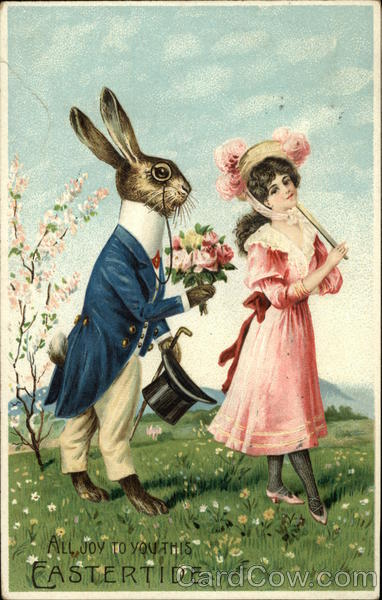 All Joy To You This Eastertide. - Rabbit offering Flowers to Woman