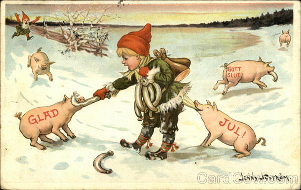 Glad Jul! pigs steal meat from a boy