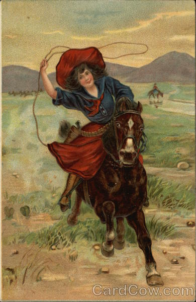 Woman on Horseback with Lasso Cowboy Western