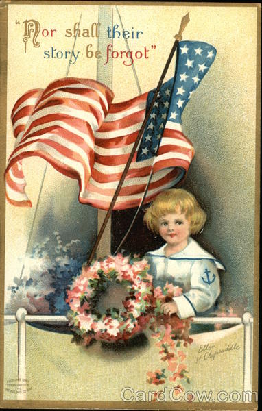 Child in Sailor Outfit with Flag and Wreath Patriotic