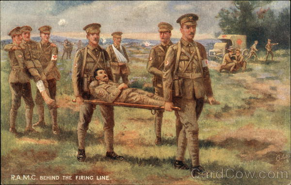 RAMC Behind the Firing Line Oilette World War I