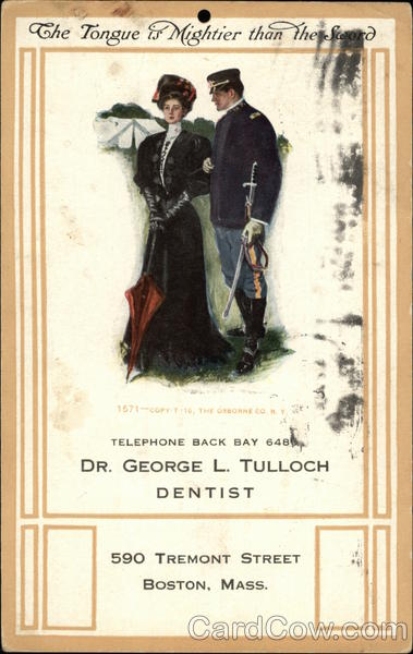 Dr. George L. Tulloch Dentist Advertisement with Military Couple