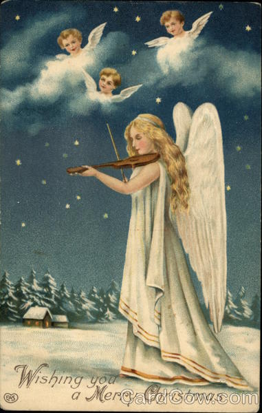Wishing You A Merry Christmas Angel Playing Violin Angels