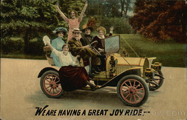We Are Having A Great Joy Ride. -- Group of Happy People in Car