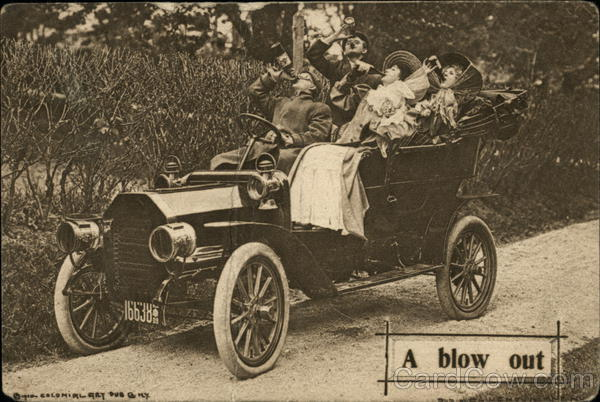 A blow out- Four People Drinking in an Antique Car