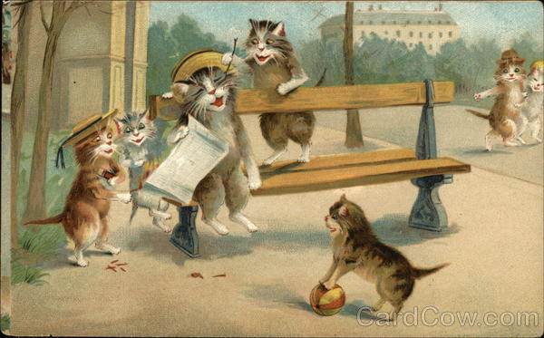 Anthropomorphic Cats laughing on the street Maurice Boulanger