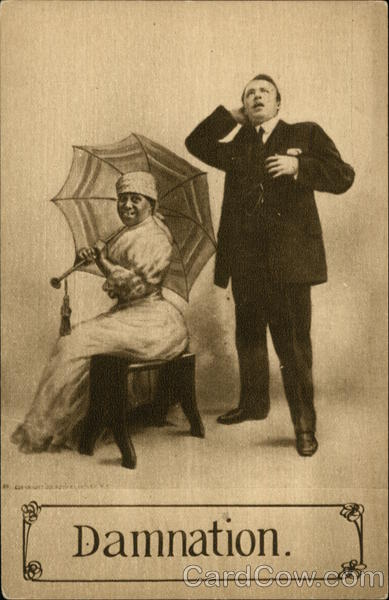 Black Woman Sitting with Umbrella, Man Standing Comic