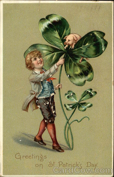 Boy With Large Four Leaf Clover and Pig St. Patrick's Day