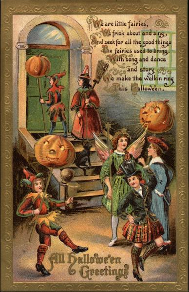 Halloween Greetings - Children Trick-or-Treating