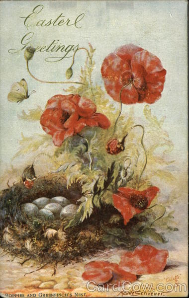 Poppies and Greenfinch's Nest Oilette Flowers