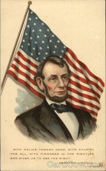Abraham Lincoln in Front of American Flag Presidents