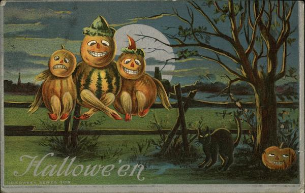 Pumpkin Creatures Sitting on a Fence at Night with Black Cat