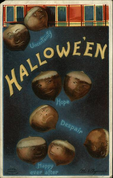 Acorns with Carved Faces Ellen Clapsaddle Halloween
