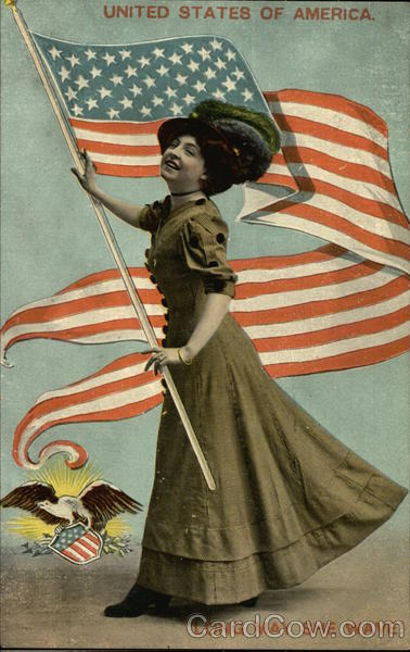 United States of America, Long May She Wave! - Woman with USA Flag