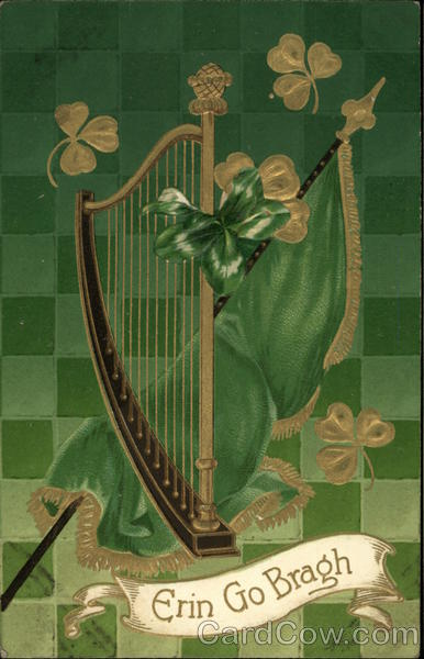 Erin Go Bragh- Harp with Green and Gold Clovers, Flag