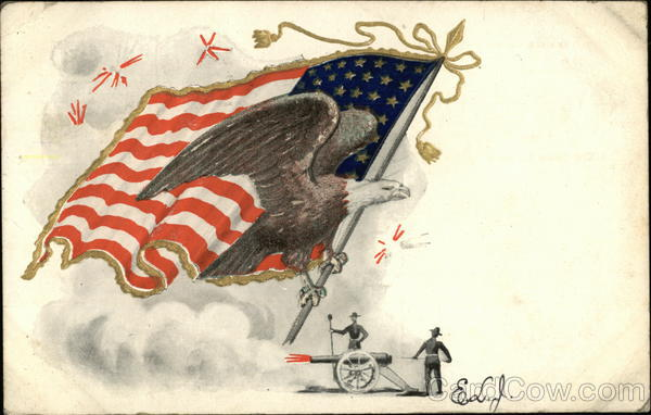 Flag and Eagle Poised over Firing Cannon Patriotic