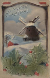 Windmill and Farm Covered in Snow with Holly