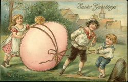 Easter Greetings- Children Towing a Large Pink Egg
